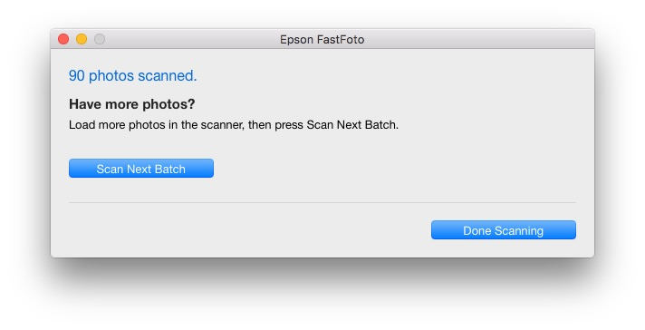Epson FastFoto FF-640 Batch Screen