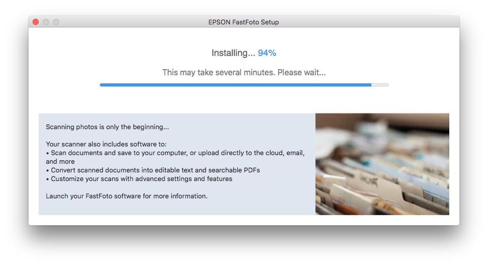 Epson FastFoto FF-640 Install Screen