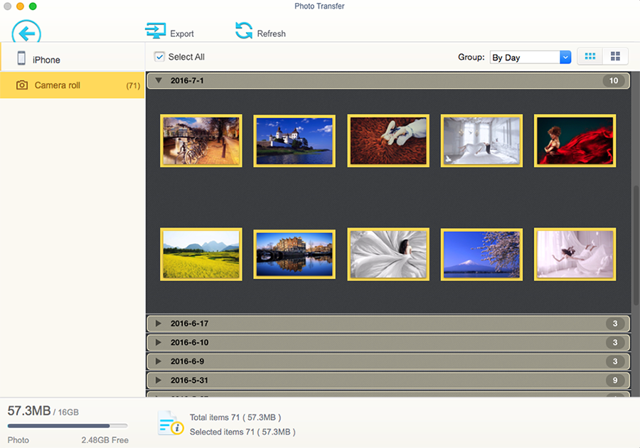 Photo Transfer Screen