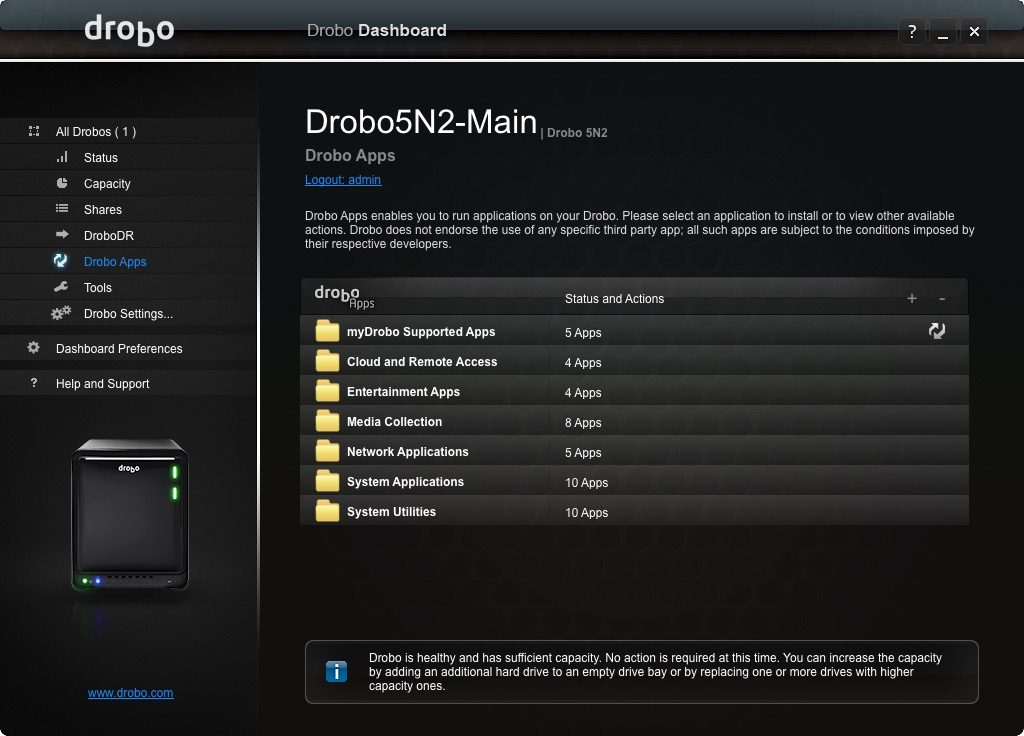 Drobo 5N2 Apps