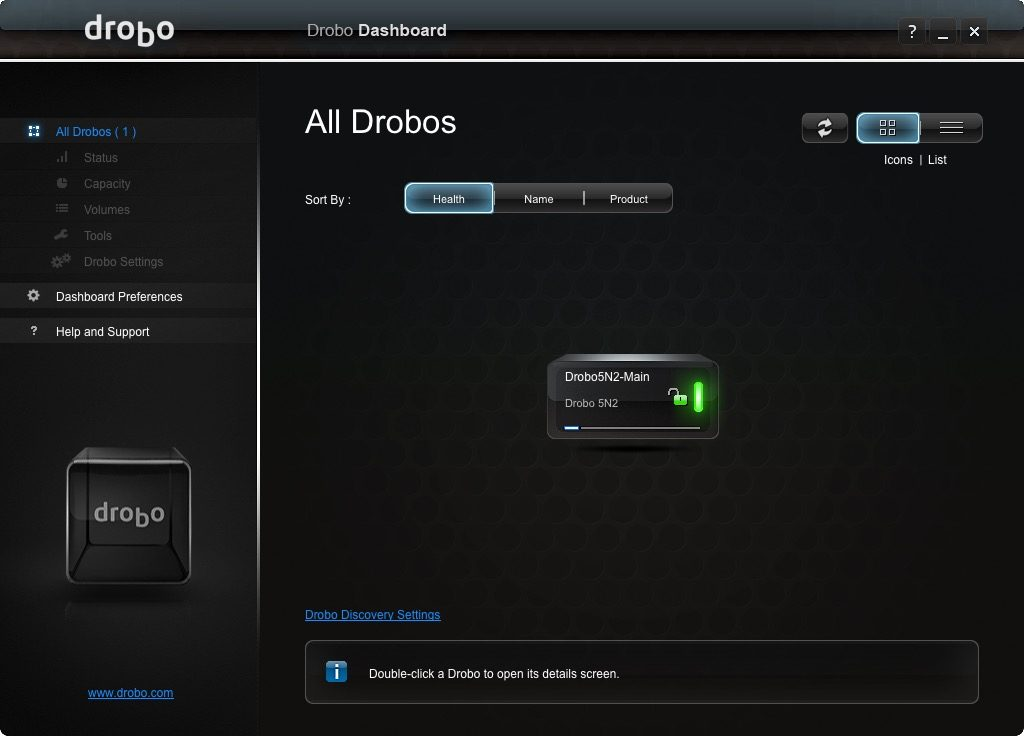 Drobo Dashboard Main Screen