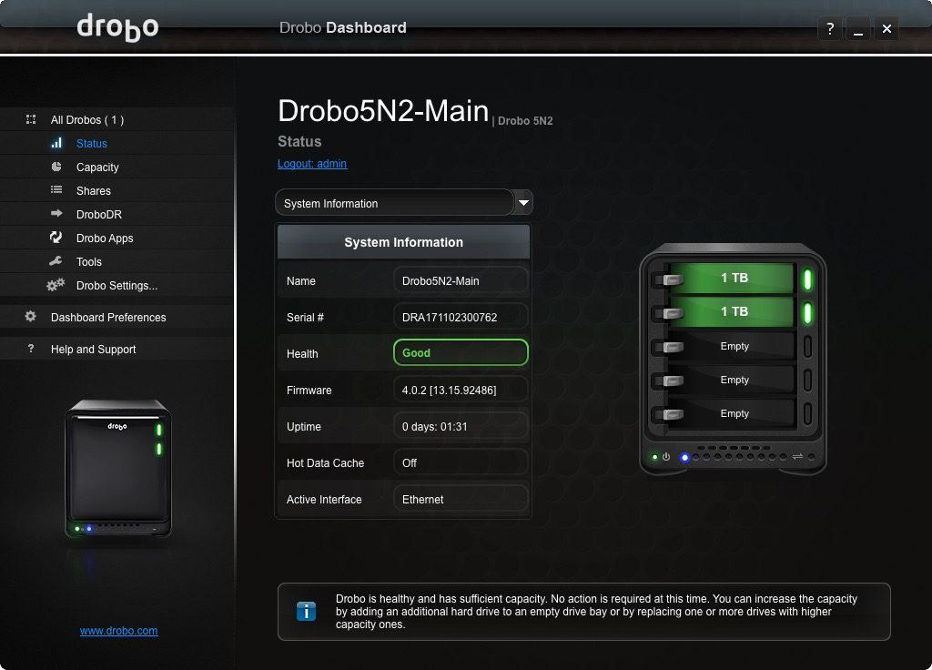 Drobo System Info