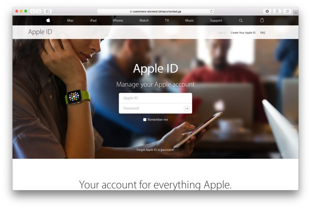 Fake Apple ID Page