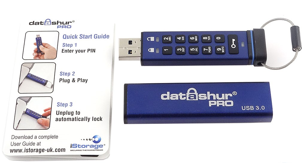 iStorage datAshur PRO USB Flash Drive Device and Instructions