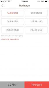GoPlay app - Recharge Screen