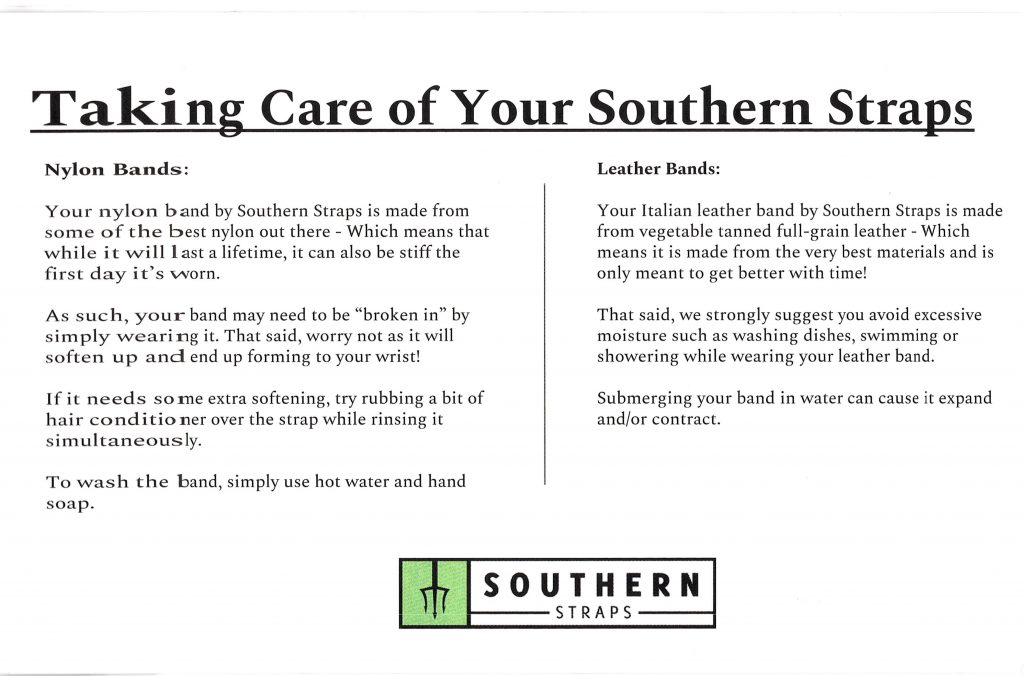 Southern Straps Care Card