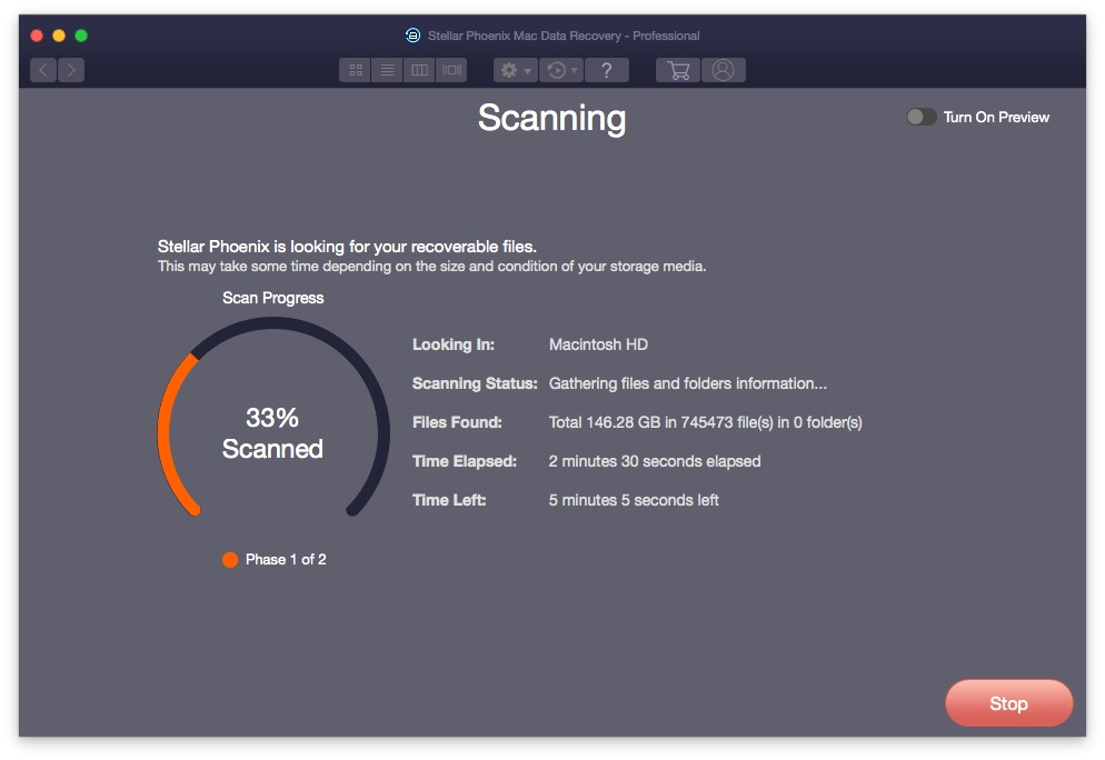 Stellar Phoenix Mac Data Recovery Phase 1 Scanning