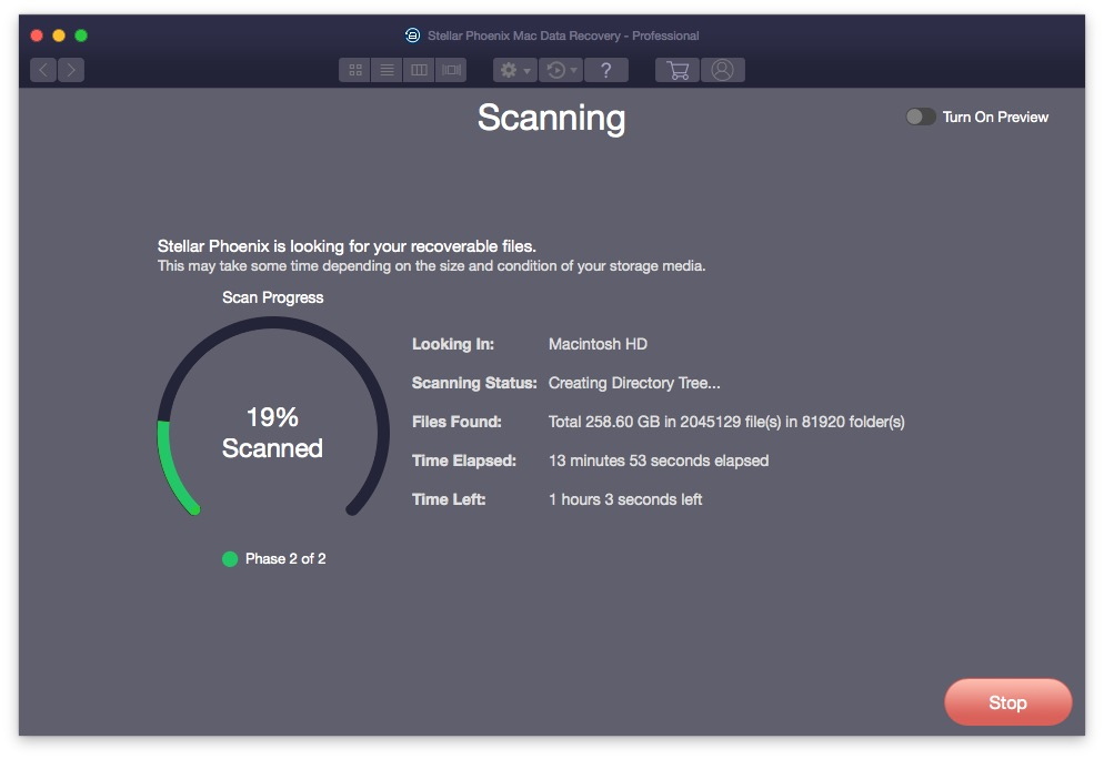 Stellar Phoenix Mac Data Recovery Phase 2 Scanning