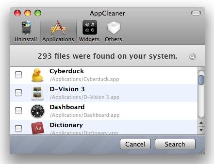AppCleaner Applications Tab