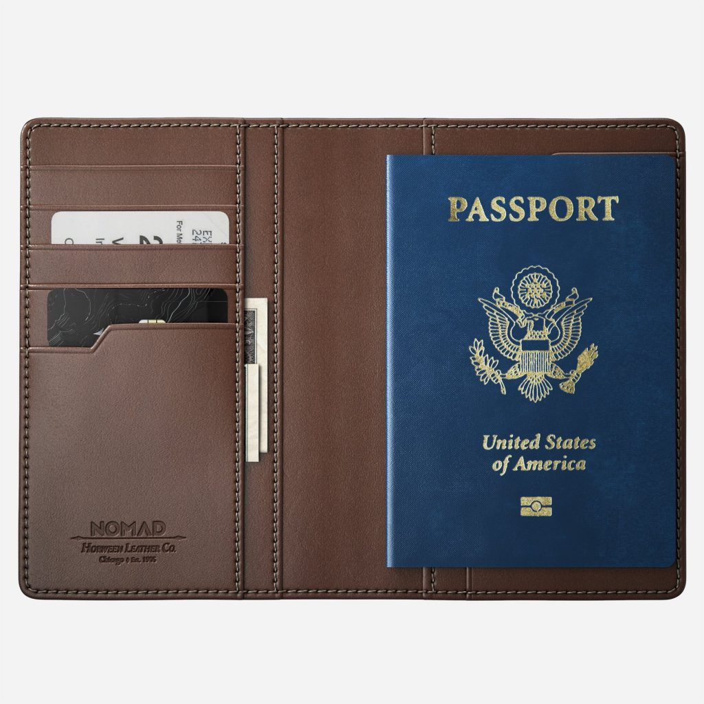 Nomad Traditional Passport Wallet - Open