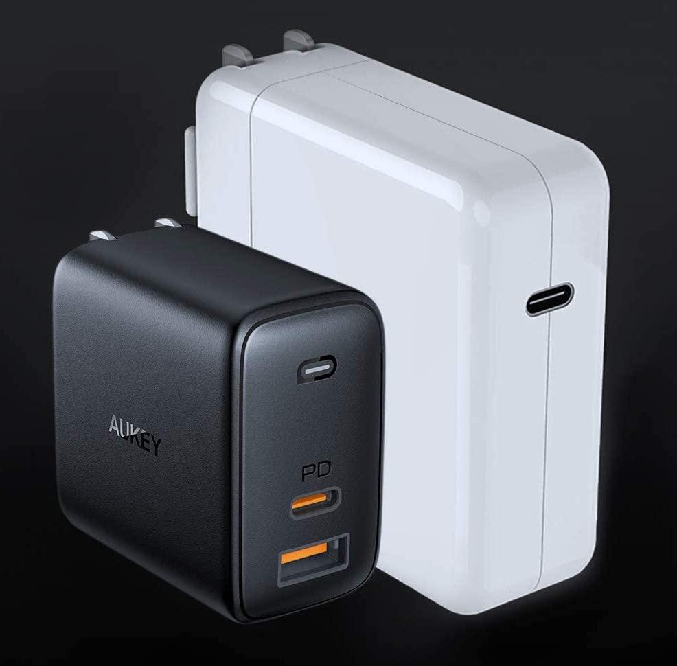 Aukey PA-B3 65W Size vs Apple OEM
