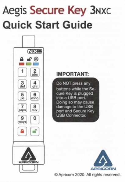Aegis Secure Key Quick Start Guide Cover