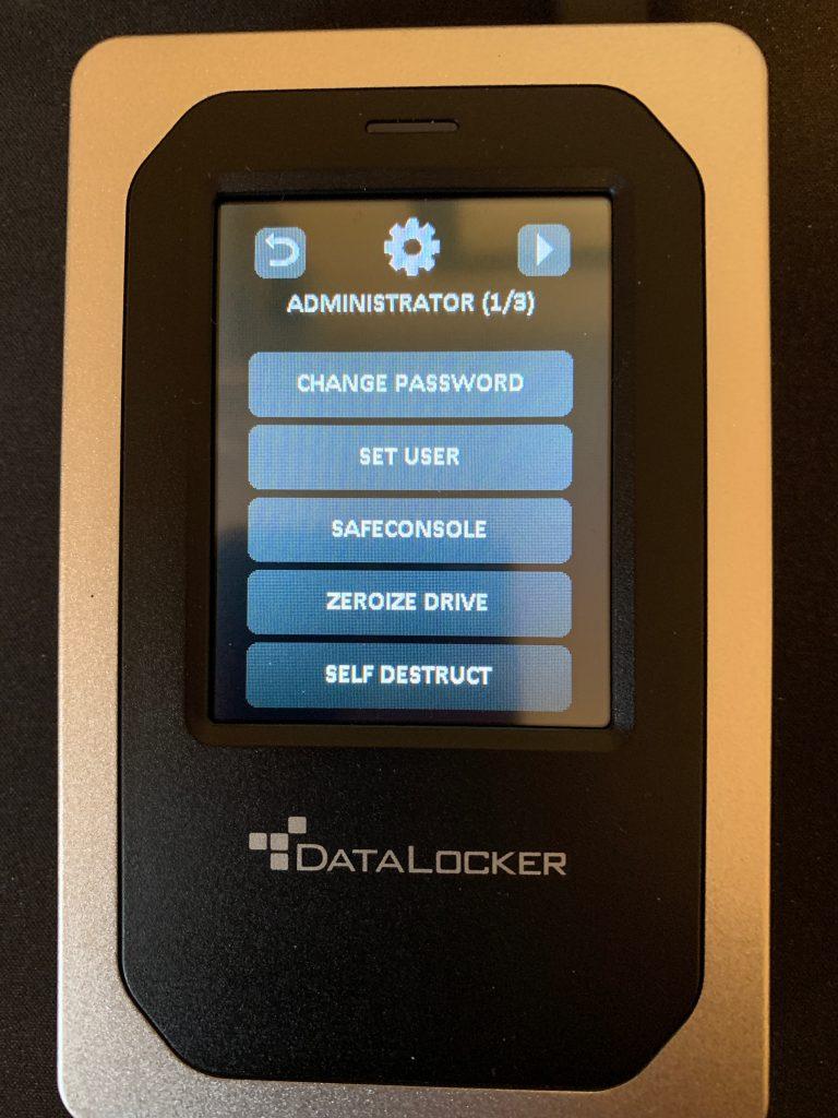DataLocker DL4-FE - Admin Screen 1